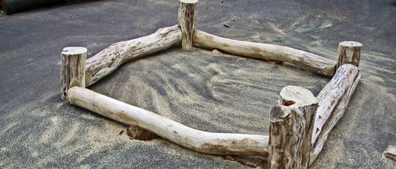 Das Grundgerüst einer Sandkiste